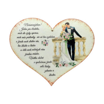 Svadobne venovanie - drevene srdce