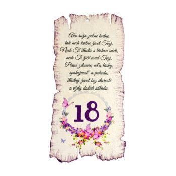 Tabuľka k narodeninám 18
