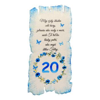 Tabuľka k narodeninám 20
