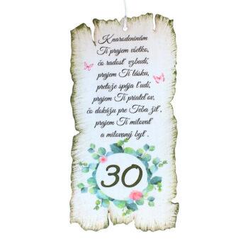 Tabuľka k narodeninám 30