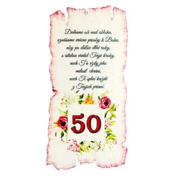 Tabuľka k narodeninám 50