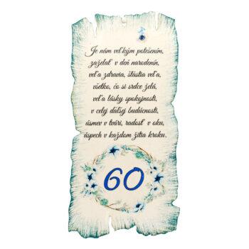 Tabuľka k narodeninám 60