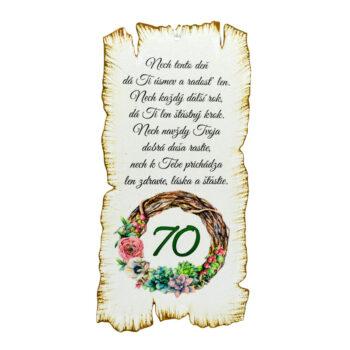 Tabuľka k narodeninám 70