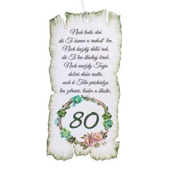 Tabuľka k narodeninám 80
