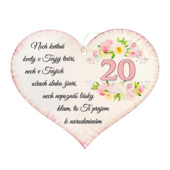 Srdiečko k narodeninám 20