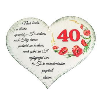Srdiečko k narodeninám 40