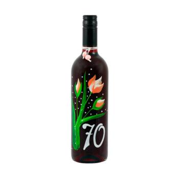 """Maľovaná fľaša s tulipánmi """"70"""""""