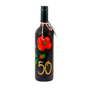 """Maľovaná fľaša s červeným makom """"50"""""""