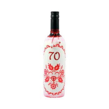 Maľovaná fľaša s ľudovým motívom červená