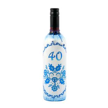 Maľovaná fľaša s ľudovým motívom modrá