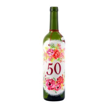 """Maľovaná fľaša s kvetovaným vzorom """"50"""""""