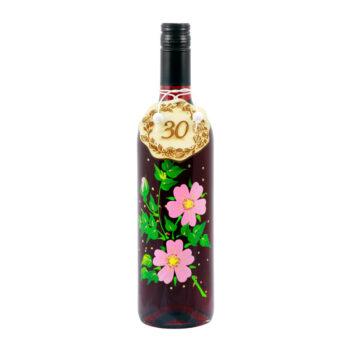 """Maľovaná fľaša s ružovými kvetmi """"30"""""""