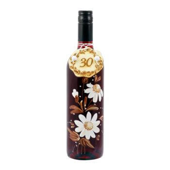 """Maľovaná fľaša s bielymi kvetmi """"30"""""""