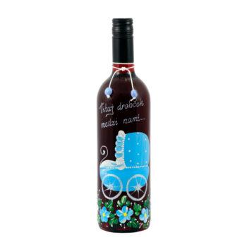 """Maľovaná fľaša modrá """"Vitaj drobček medzi nami"""""""